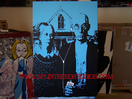 I Manifesto Painting Of Grant Woods American Gothic The Two Small Town Residents Iwoa Staring Out At Viewer But Mans Pitch Fork