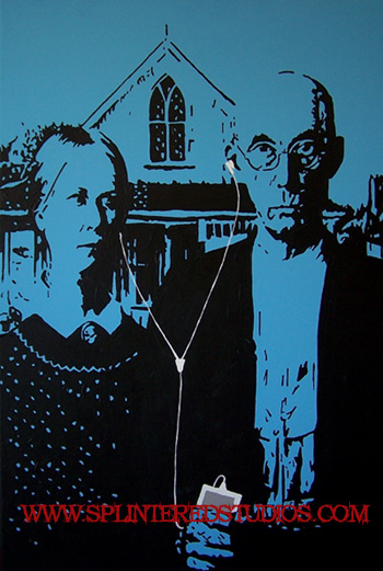 American I Gothic Parody Painting