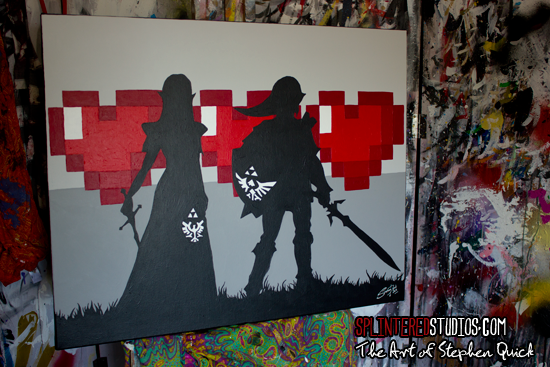 Zelda And Link Pop Art Painting 16 Bit Love The Art Of Stephen Quick