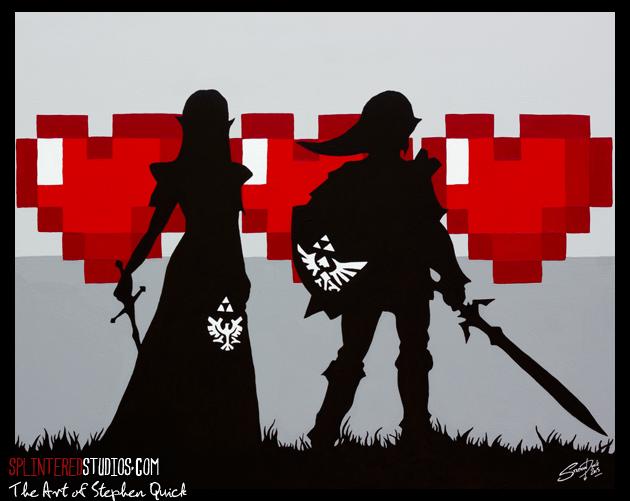 Zelda And Link Pop Art Painting 16 Bit Love The Art Of