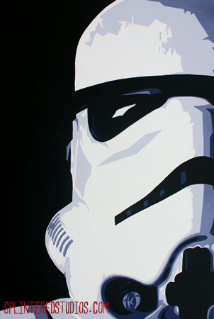 Star Wars Storm Trooper Portrait Painting Splintered